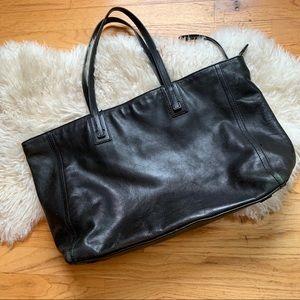 Fossil Black Leather Tote Handbag Purse
